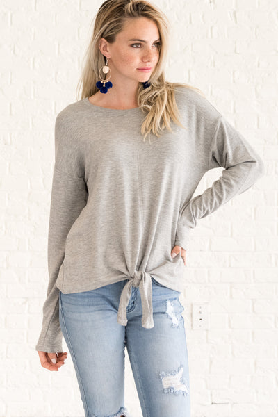 Gray Cute Pullover Long Sleeve Front Knot Tie Tops Winter Boutique