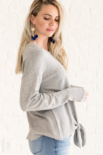 Gray Cute Long Sleeve Front Knot Tie Tops for Women