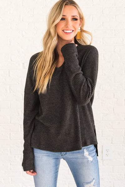 Charcoal Gray Soft Cozy Long Sleeve Tops with Ribbed Texture and Split Hem