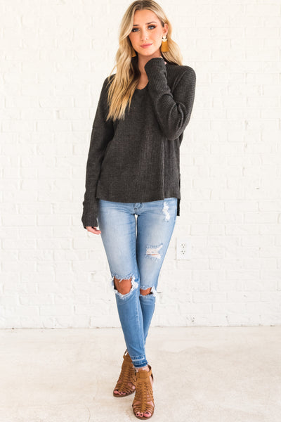Charcoal Gray Cute Long Sleeve Tops with V  Neck and Ribbed Texture