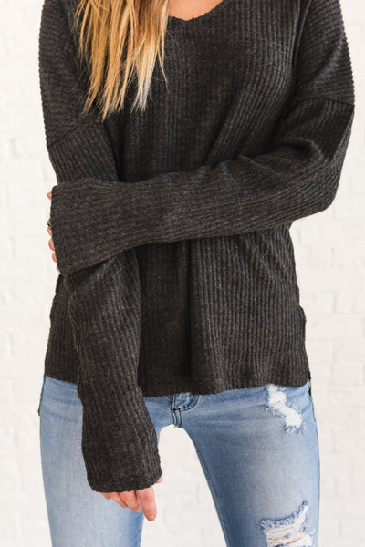 Charcoal Gray Long Sleeve V Neck Soft Cozy Tops for Women