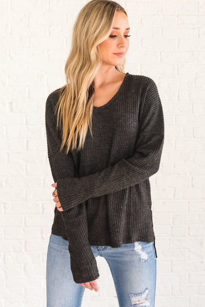 Charcoal Gray Soft Cozy Warm Long Sleeve Tops for Womens Winter Fashion