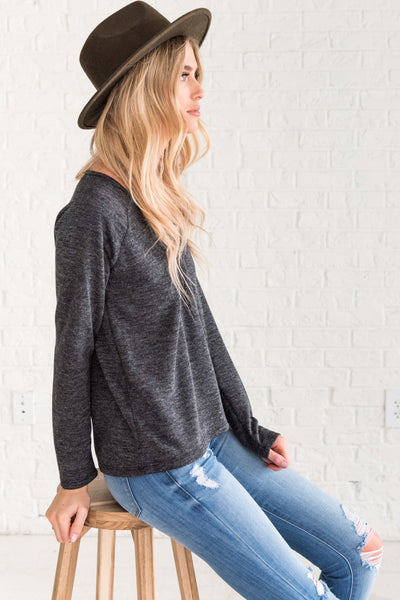 Heather Charcoal Gray Long Sleeve Tops from Affordable Online Boutique