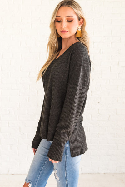 Charcoal Gray Soft Cozy Ribbed Long Sleeve Tops Affordable Online Boutique