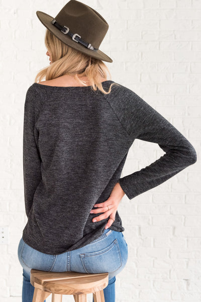 Charcoal Gray Cute Pullover Tops for Women for Winter