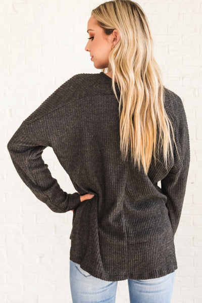 Charcoal Gray Long Sleeve Top with V Neckline Ribbed Material and Split Hem