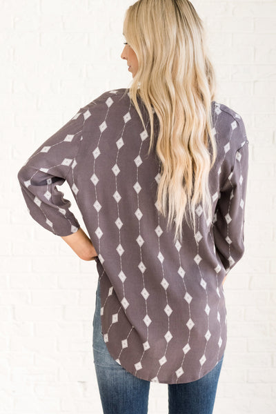Diamonds In The Sky Charcoal Gray Blouse Faux Wrap Tops