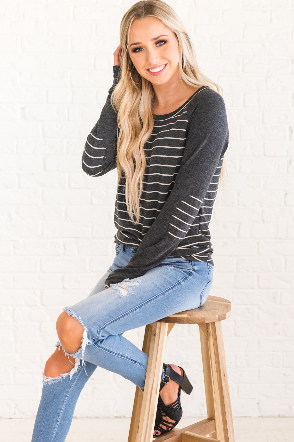 Charcoal Gray Striped Long Sleeve Raglan Baseball Tops and Tees Elbow Patches