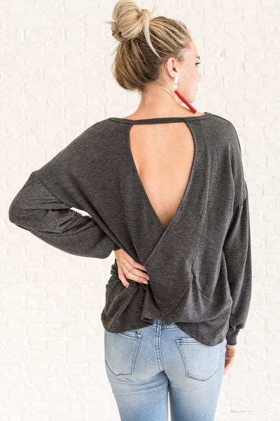 Charcoal Gray Bishop Sleeve Open Back Pullover Tops