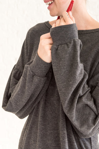 Charcoal Gray Cute Cozy Fall Long Sleeve Tops for Women