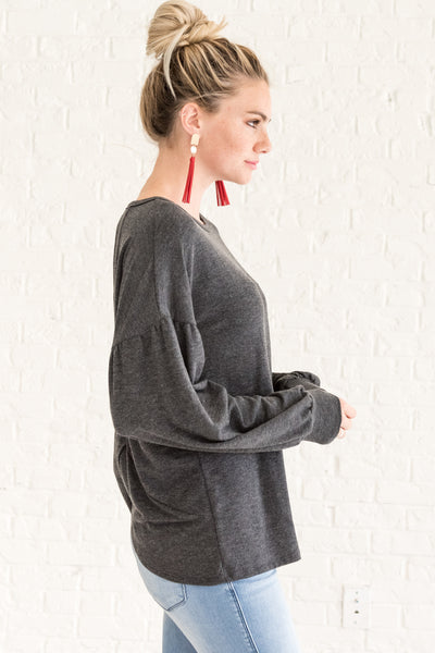 Charcoal Gray Open Back Cut Out Puffy Long Sleeve Top