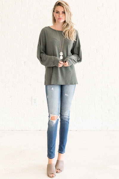 Sage Olive Green Long Sleeve Open Back Tops for Fall