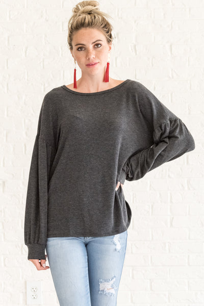 Charcoal Gray Cute Long Sleeve Open Back Tops for Women