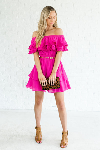 Fuchsia Pink Ruffled Tiered Off Shoulder Crochet Boutique Mini Dresses