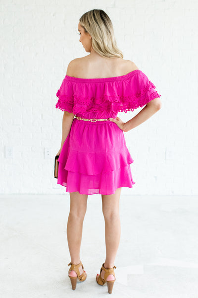 Fuchsia Pink Ruffle Off Shoulder Crochet Mini Dresses Party Sorority Date