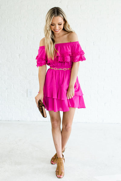 Fuchsia Pink Tiered Ruffle Crochet Smocked Off Shoulder Boutique Mini Dresses