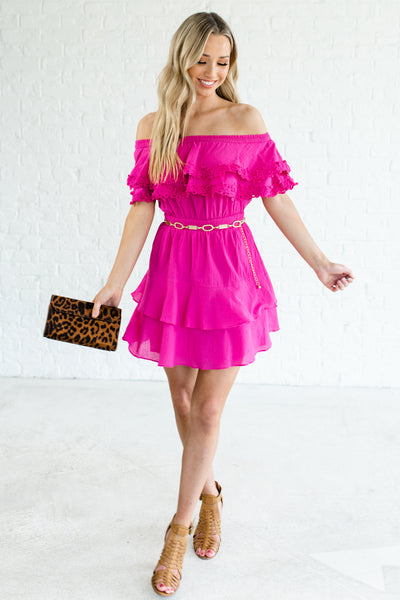 Fuchsia Hot Pink Ruffle Crochet Off Shoulder Mini Party Dresses Boutique
