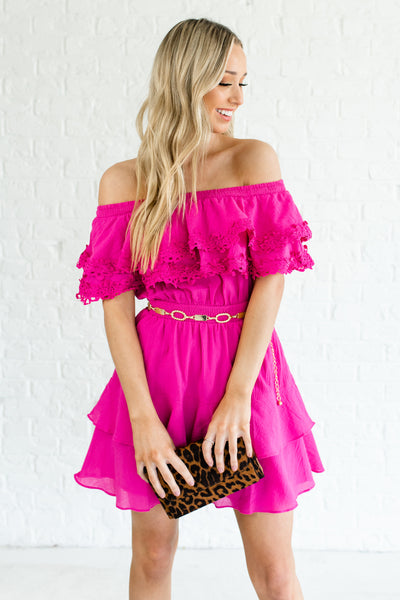 Fuchsia Pink Magenta Off Shoulder Smocked Tiered Ruffle Crochet Mini Dresses for Women