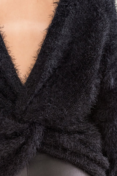 Black Fuzzy Warm Cozy Womens Clothing Sweaters for Winter