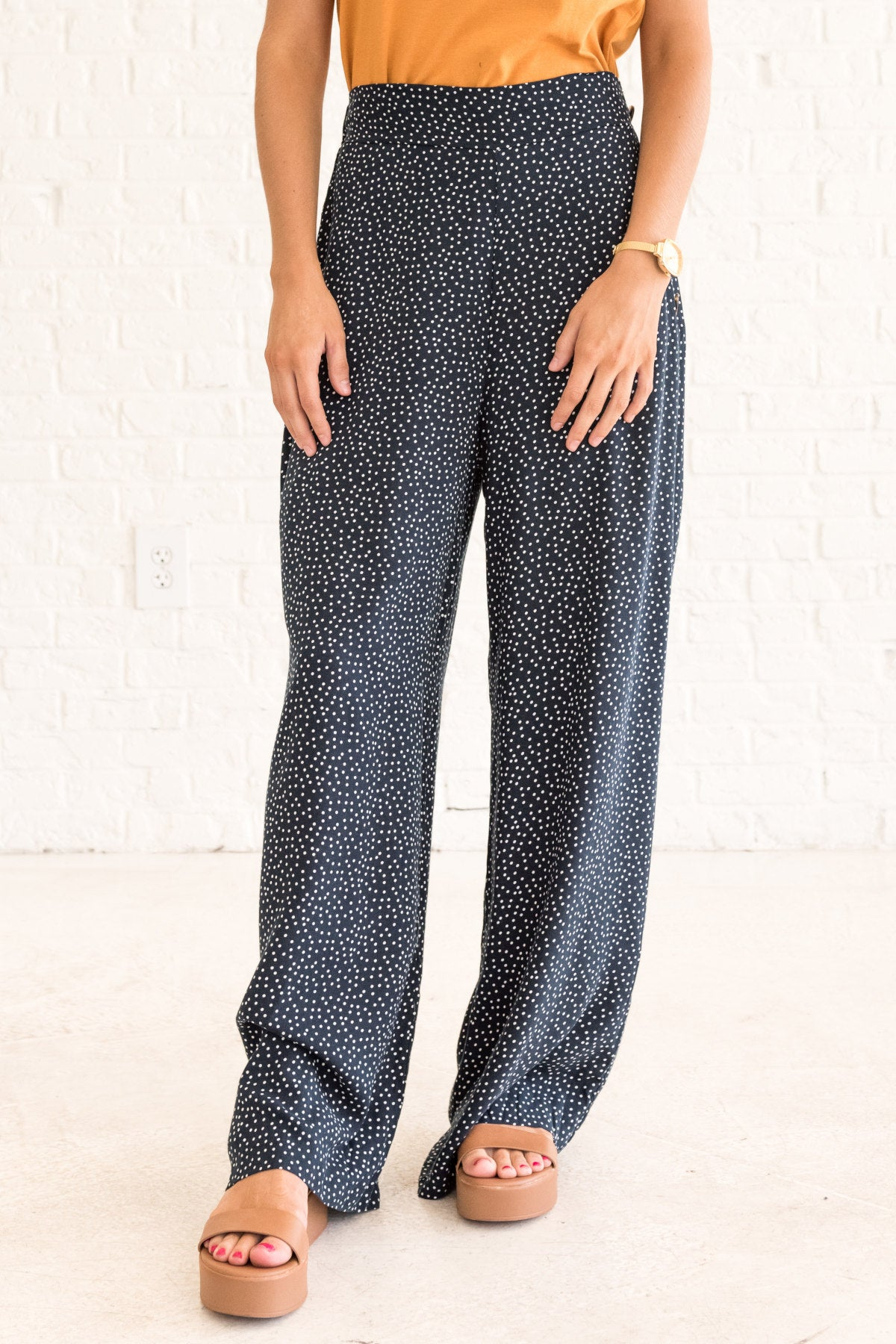 2244548129 Coffee Break Navy Polka Dot Pants