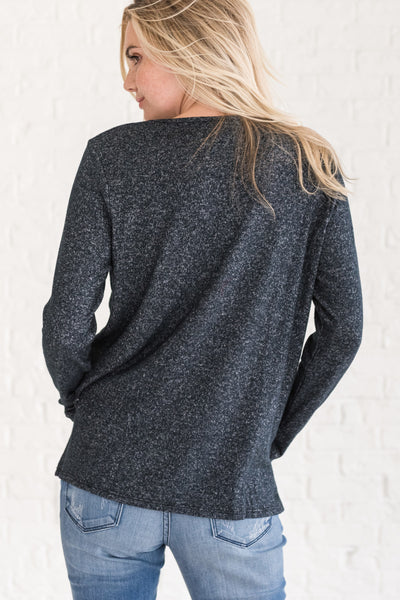 Navy Marled Heather Pullover Criss Cross Cut Out Tops