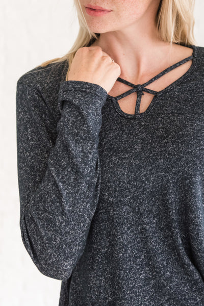 Dark Navy Strappy Unique Cut Out Criss Cross Long Sleeve Tops
