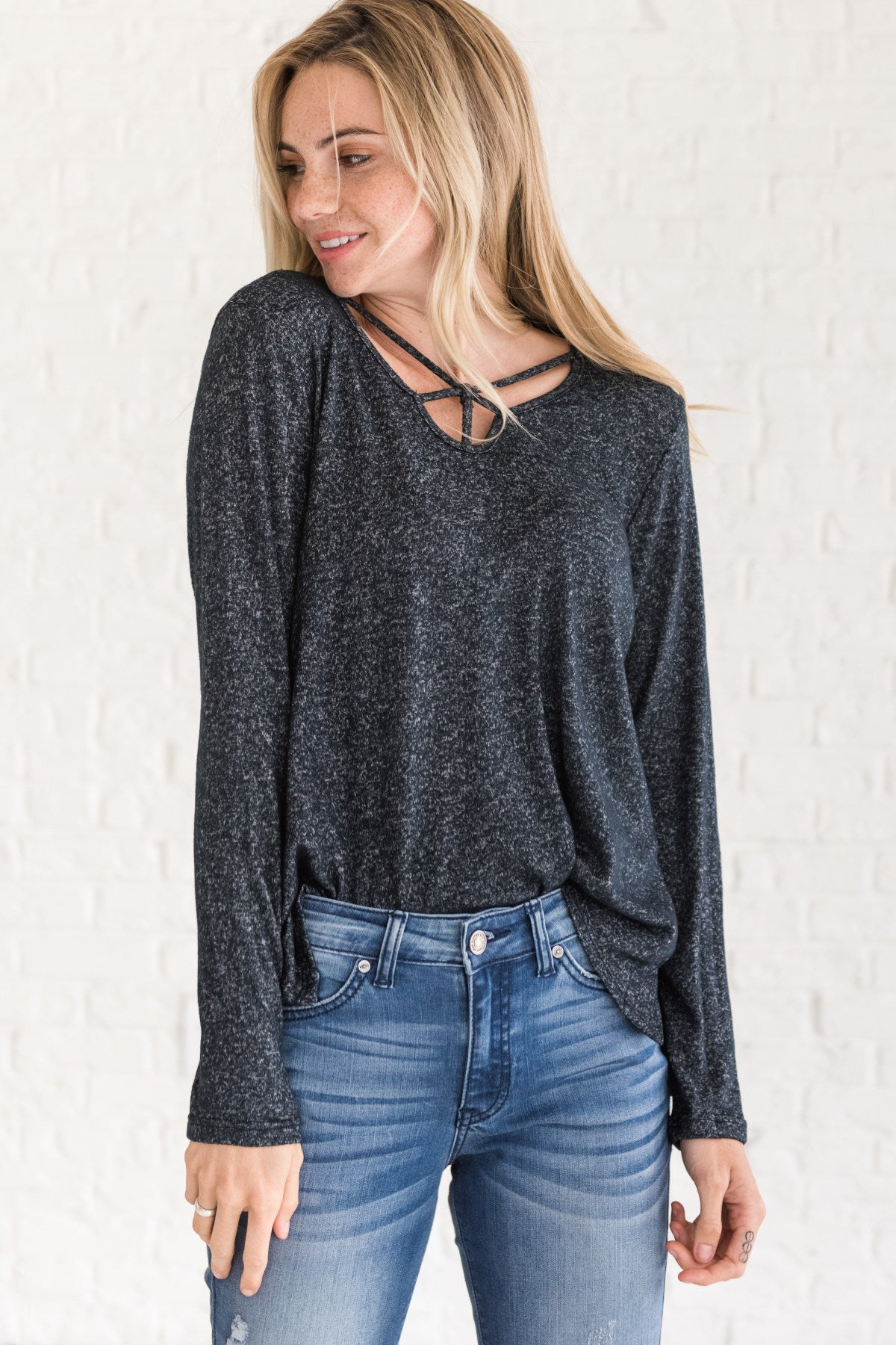 Navy Marled Heathered Pullover Strappy Criss Cross Tops Cozy