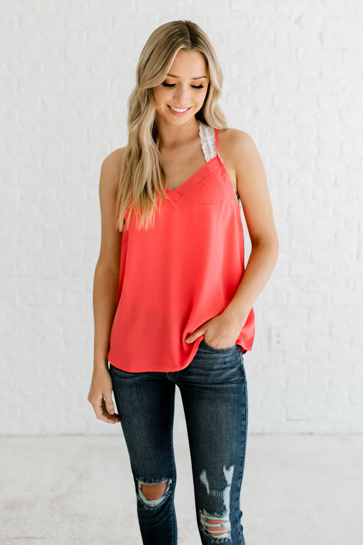 Coral Pink Orange Racerback Sleeveless Business Casual Blouses and Tops