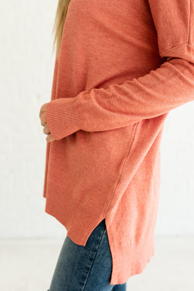 Coral Pink Orange Cute Oversized Boutique Sweaters with High Low Hem