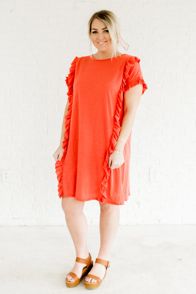 Coral Red Ruffle Bodice Smocked Sleeve Plus Size Boutique Dresses