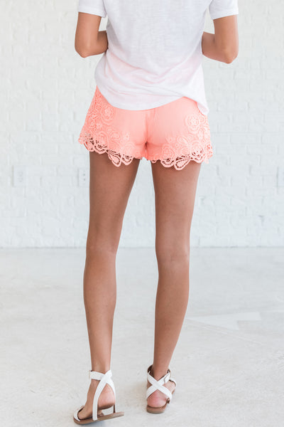 Coral Lace Shorts on Sale from Affordable Cute Online Womens Boutique