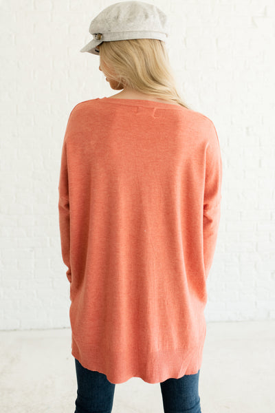 Coral Pink Orange Oversized Front Seam Cute Oversized Sweaters for Women