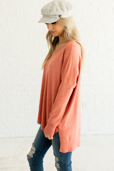 Coral Pink Orange Cute Oversized Split High Low Hem Boutique Sweaters