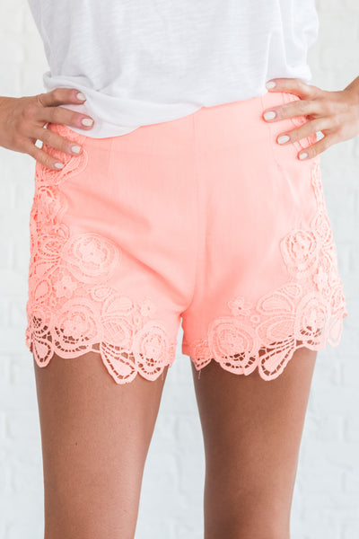 Coral Orange Pink Cute Lace Short Shorts with Zipper and Lining
