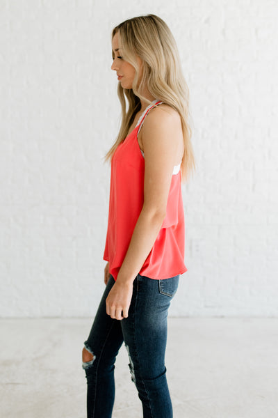 Coral Pink Cute Boutique Business Casual Fashion Sleeveless Blouses and Tops with Racerback