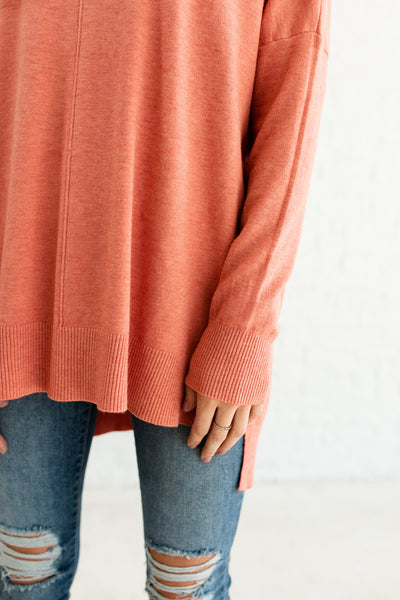 Coral Pink Orange Oversized High Low Split Hem Front Seam Sweaters for Women