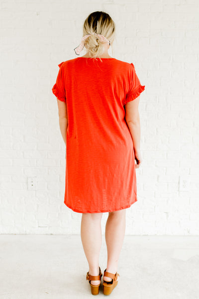 Coral Red Orange Pink Ruffle Smocked Plus Size Dress Boutique