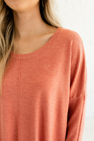 Coral Orange Pink Cute Oversized Front Seam Split High Low Hem Pullover Sweaters