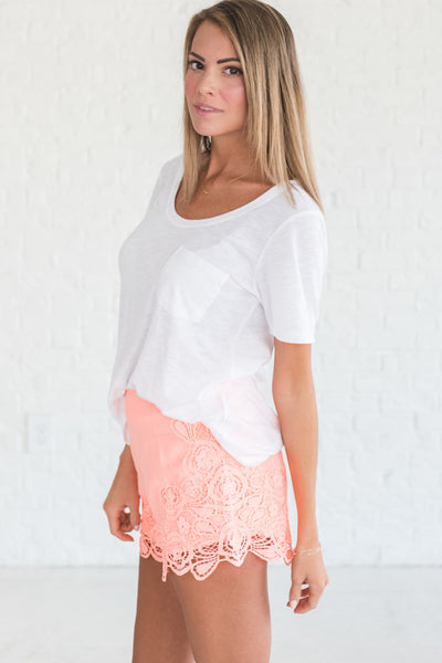 Coral Pink Orange Lace Shorts Cute Medium for Spring Summer