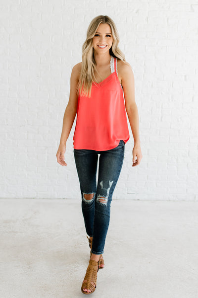 Coral Orange Pink Racerback Tank Top with High Quality Blouse Material