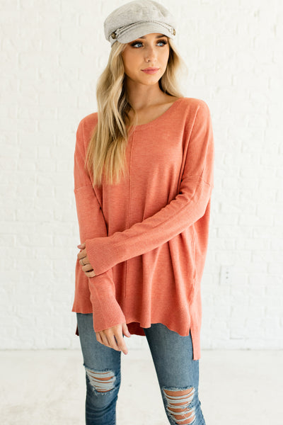 Coral Pink Orange Cute Oversized High Low Sweaters Affordable Online Boutique