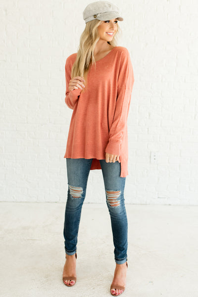 Coral Pink Orange Best Boutique Sweaters for Women Affordable Online Fashion