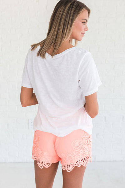 Coral Pink Orange Cute Lace Floral Short Shorts from Affordable Online Boutique