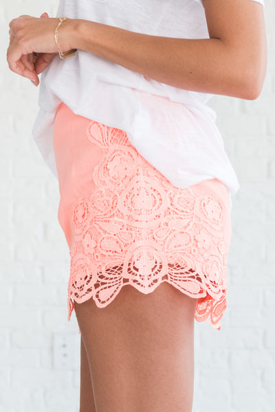 Coral Orange Pink Lace Shorts with Full Lining Zipper Back and Fancy Look