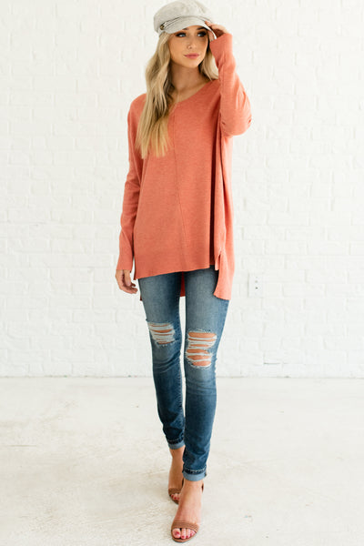 Coral Pink Orange Cute Oversized Boyfriend Sweaters with Front Seam for Women