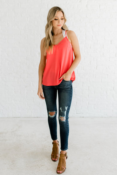 Coral Orange Pink Layered V Neckline Racerback Tank Sleeveless Blouses and Tops Boutique