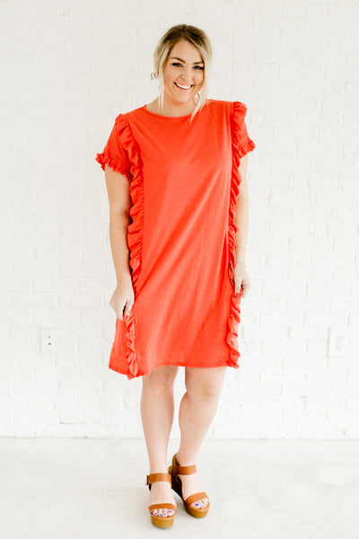 Coral Red Plus Size Boutique Dresses with Ruffles and Smocked Sleeves