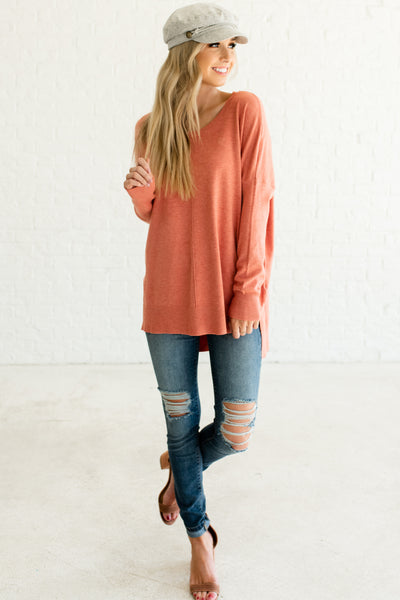 Coral Pink Orange Cute Boutique Pullover Sweaters with High Low Hem
