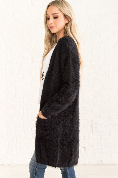 Black Cute Fuzzy Long Cardigan with Pockets Affordable Online Boutique