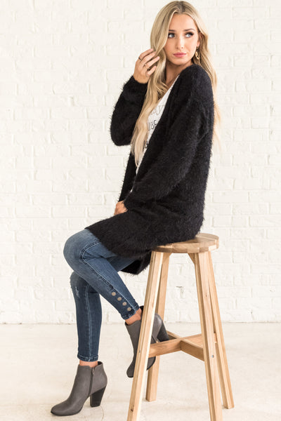 Black Cute Boutique Fuzzy Long Cardigans for Fall Winter Christmas